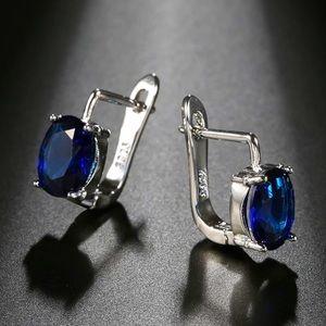 NWOT sterling silver blue zirconium earrings
